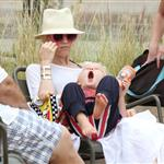 Gwen with her adorably hilarious kids at the beach the other day  120789