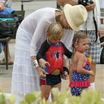 Gwen with her adorably hilarious kids at the beach the other day  120799