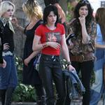 Kristen Stewart and Dakota Fanning on the set of The Runaways 42179