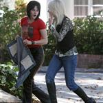 Kristen Stewart and Dakota Fanning on the set of The Runaways 42184
