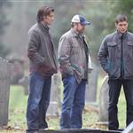 Jared Padalecki and Jensen Ackles shoot Supernatural funeral 77128