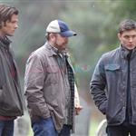 Jared Padalecki and Jensen Ackles shoot Supernatural funeral 77129