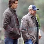 Jared Padalecki and Jensen Ackles shoot Supernatural funeral 77131