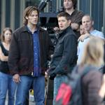Jared Padaleck and Jensen Ackles work on Supernatural August 2011 91743