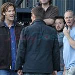 Jared Padaleck and Jensen Ackles work on Supernatural August 2011 91745