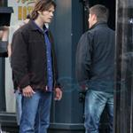 Jared Padaleck and Jensen Ackles work on Supernatural August 2011 91748