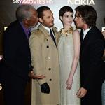 Morgan Freeman, Tom Hardy, Anne Hathaway and Christian Bale at the London premiere if The Dark Knight Rises 121185