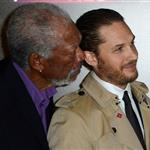 Morgan Freeman, Tom Hardy, Anne Hathaway and Christian Bale at the London premiere if The Dark Knight Rises 121186