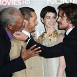Morgan Freeman, Tom Hardy, Anne Hathaway and Christian Bale at the London premiere if The Dark Knight Rises 121192