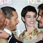 Morgan Freeman, Tom Hardy, Anne Hathaway and Christian Bale at the London premiere if The Dark Knight Rises 121193