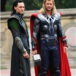 Chris Hemsworth Tom Hiddleston on set of The Avengers in Central Park 93295