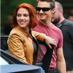 Scarlett Johansson Jeremy Renner on set of The Avengers in Central Park 93296