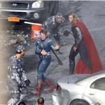 Chris Evans and Chris Hemsworth as Captain America and Thor shoot The Avengers 92335