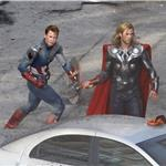 Chris Evans and Chris Hemsworth as Captain America and Thor shoot The Avengers 92339