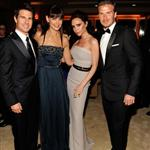 Tom Cruise and Katie Holmes with Victoria and David Beckham at the 2012 Vanity Fair Oscar party 107509