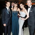 Tom Cruise and Katie Holmes with Victoria and David Beckham at the 2012 Vanity Fair Oscar party 107511