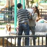 Tom Brady and Gisele Bundchen at a Boston park with their son 116281