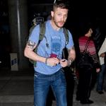 Tom Hardy arrives at LAX in Batman t-shirt 78065