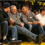 Tom Hardy Leonardo DiCaprio courtside at Laker game February 2011  78251