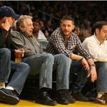 Tom Hardy Leonardo DiCaprio courtside at Laker game February 2011  78252