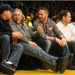 Tom Hardy Leonardo DiCaprio courtside at Laker game February 2011  78256