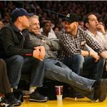 Tom Hardy Leonardo DiCaprio courtside at Laker game February 2011  78260