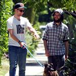 Robert Pattinson and Tom Sturridge take Rob's dog for a walk in California, July 2011 108896