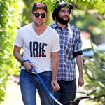 Robert Pattinson and Tom Sturridge take Rob's dog for a walk in California, July 2011 108898