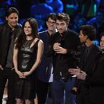 Peter Facinelli, Elizabeth Reaser, director Bill Condon and Robert Pattinson, Taylor Lautner and Jackson Rathbone onstage during the 2012 MTV Video Music Awards 125353