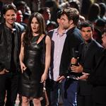 Peter Facinelli, Elizabeth Reaser, director Bill Condon and Robert Pattinson, Taylor Lautner and Jackson Rathbone onstage during the 2012 MTV Video Music Awards 125355
