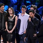 Peter Facinelli, Elizabeth Reaser, director Bill Condon and Robert Pattinson, Taylor Lautner and Jackson Rathbone onstage during the 2012 MTV Video Music Awards 125356