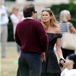 Uma Thurman Elle Macpherson with Arpad Busson and children in London 64681
