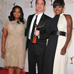 Tate Taylor poses with Viola Davis and Octavia Spencer in the press room during the 2012 Writers Guild Awards in LA 106498
