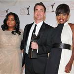 Tate Taylor poses with Viola Davis and Octavia Spencer in the press room during the 2012 Writers Guild Awards in LA 106500