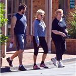 Hugh Jackman in Australia with his wife and her mother leaving the gym  75867