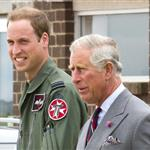 Prince Charles visits RAF Valley on Anglesey to see Prince William on his Air Force Base and view his Sea King rescue helicopter 120017