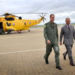 Prince Charles visits RAF Valley on Anglesey to see Prince William on his Air Force Base and view his Sea King rescue helicopter 120019