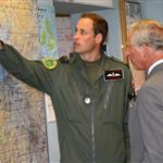 Prince Charles visits RAF Valley on Anglesey to see Prince William on his Air Force Base and view his Sea King rescue helicopter 120021