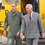 Prince Charles visits RAF Valley on Anglesey to see Prince William on his Air Force Base and view his Sea King rescue helicopter 120022