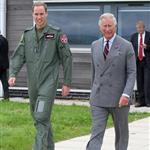 Prince Charles visits RAF Valley on Anglesey to see Prince William on his Air Force Base and view his Sea King rescue helicopter 120025