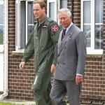 Prince Charles visits RAF Valley on Anglesey to see Prince William on his Air Force Base and view his Sea King rescue helicopter 120028