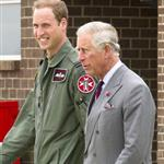 Prince Charles visits RAF Valley on Anglesey to see Prince William on his Air Force Base and view his Sea King rescue helicopter 120030