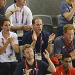 Catherine, Duchess of Cambridge, Prince William, Duke of Cambridge and Prince Harry during the Team Pursuit Track Cycling Qualifying on Day 6 of the London 2012 Olympic Games 124374