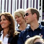 Catherine and Prince William watch the Eventing Cross Country Equestrian event on Day 3 of the London 2012 Olympic Games with Prince Harry, Princess Beatrice, Princess Eugenie and Camilla 121945