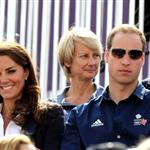 Catherine and Prince William watch the Eventing Cross Country Equestrian event on Day 3 of the London 2012 Olympic Games with Prince Harry, Princess Beatrice, Princess Eugenie and Camilla 121959