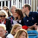 Catherine and Prince William watch the Eventing Cross Country Equestrian event on Day 3 of the London 2012 Olympic Games with Prince Harry, Princess Beatrice, Princess Eugenie and Camilla 121962