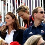 Catherine and Prince William watch the Eventing Cross Country Equestrian event on Day 3 of the London 2012 Olympic Games with Prince Harry, Princess Beatrice, Princess Eugenie and Camilla 121963