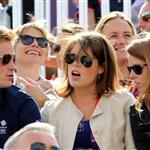 Catherine and Prince William watch the Eventing Cross Country Equestrian event on Day 3 of the London 2012 Olympic Games with Prince Harry, Princess Beatrice, Princess Eugenie and Camilla 121968