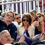Catherine and Prince William watch the Eventing Cross Country Equestrian event on Day 3 of the London 2012 Olympic Games with Prince Harry, Princess Beatrice, Princess Eugenie and Camilla 121969