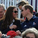 Catherine and Prince William watch the Eventing Cross Country Equestrian event on Day 3 of the London 2012 Olympic Games with Prince Harry, Princess Beatrice, Princess Eugenie and Camilla 121971